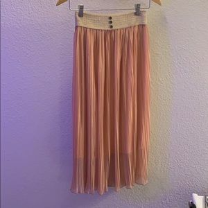 Shiny Pleated Pink Skirt